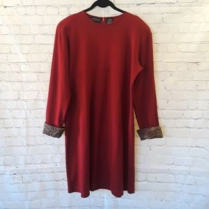 Liz Claiborne wool blend red shift dress size XL